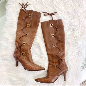 Ferragamo Tan Lace Up Tall Heeled Boots 5